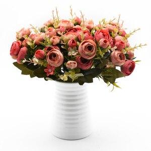 Image 2 - 10Heads/1 Bundel Zijde Thee Rozen Bruid Boeket Voor Kerst Thuis Bruiloft Nieuwe Jaar Decoratie Nep Planten Kunstmatige bloemen