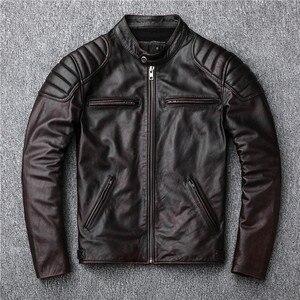 Image 1 - Bezpłatna wysyłka, marka vintage kurtka z prawdziwej skóry. Mężczyzna brązowy motor biker skóry wołowej płaszcz. slim kurtki w dużych rozmiarach. outwear sprzedaży