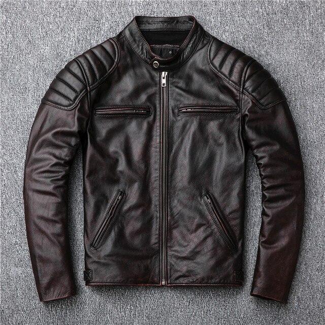 Bezpłatna wysyłka, marka vintage kurtka z prawdziwej skóry. Mężczyzna brązowy motor biker skóry wołowej płaszcz. slim kurtki w dużych rozmiarach. outwear sprzedaży