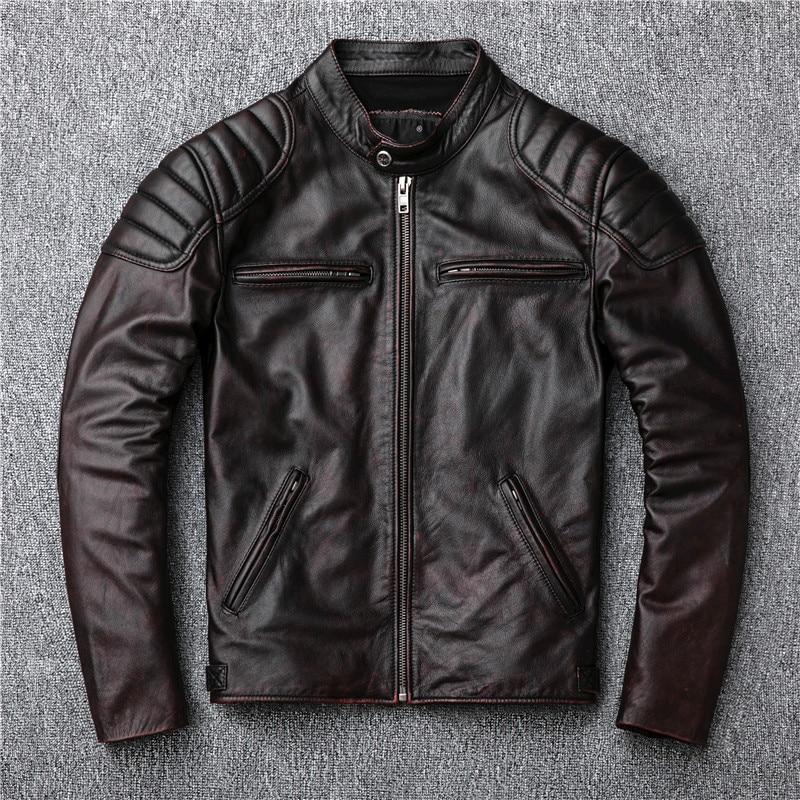 Free shipping,Brand vintage genuine leather jacket.mens brown motor biker cowhide coat.slim plus size jackets.outwear salesgloves militarybrand glovesgloves brand -