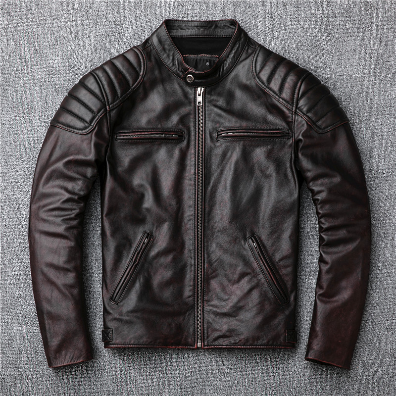 Livraison gratuite, veste en cuir véritable de marque vintage. Manteau en peau de vache motarde marron pour homme. Vestes slim grande taille. Ventes outwear-in Manteaux en cuir véritable from Vêtements homme    1