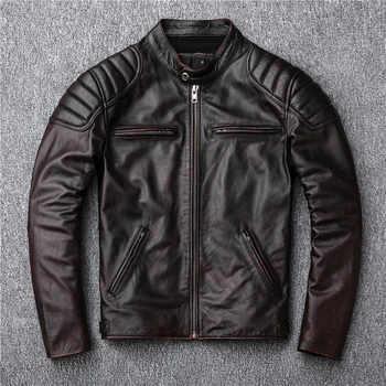 送料無料、ブランドのヴィンテージ本革 jacket. メンズブラウンモーターバイカー牛革コート。スリムプラスサイズジャケット。生き抜く販売 - DISCOUNT ITEM  10% OFF メンズ服