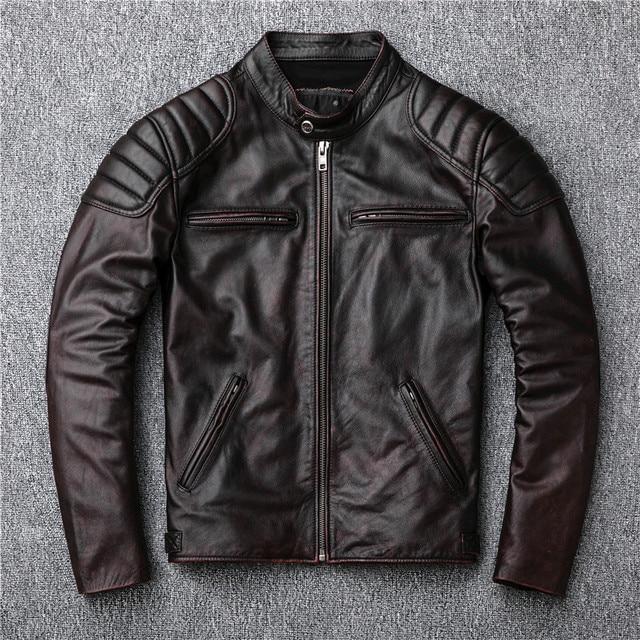 משלוח חינם, מותג בציר אמיתי עור מעיל. mens חום מנוע biker עור פרה מעיל. רזה בתוספת גודל מעילים. להאריך ימים יותר מכירות
