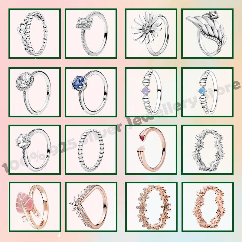 2020 Новые подлинные 925 пробы серебряные кольца топаз камень с бисером кольца ювелирные изделия