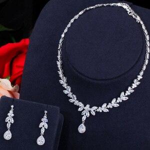 Image 4 - Pera klasik markiz beyaz CZ gelin takı setleri kadınlar için uzun damla küpe ve kolye kostüm aksesuarları J296