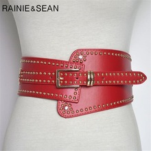 RAINIE SEAN Leather Belts For Ladies Red Wide Belts For Dresses Women Cummerbunds Rivet Red Women's Fashion Corset