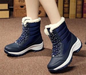 Image 4 - Женские ботинки, зимние водонепроницаемые ботинки, женская обувь 2019, женские зимние ботинки на платформе, сохраняющие тепло ботильоны, женские ботинки большого размера 41 42