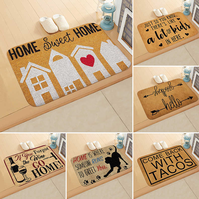 Vintage Flannel Door Mat Letter Words Pattern Floor Mat Rugs 40X60CM Non-slip Doormats for Outdoor Bathroom Kitchen Carpets