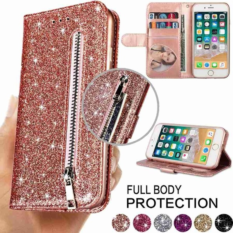 Fashion Glitter Leather Wallet Card Slots Flip Case Cover For iPhone 6 6S 7 8 11 Pro Max 12 Mini 12 Pro Max X/Xs Max XR SE 2020