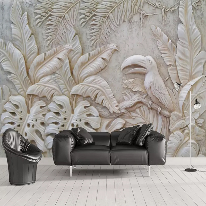 Custom Photo Wallpaper For Walls 3D Stereoscopic Embossed Plant Leaf Bird Background Wall Mural For Living Room Restaurant Decor