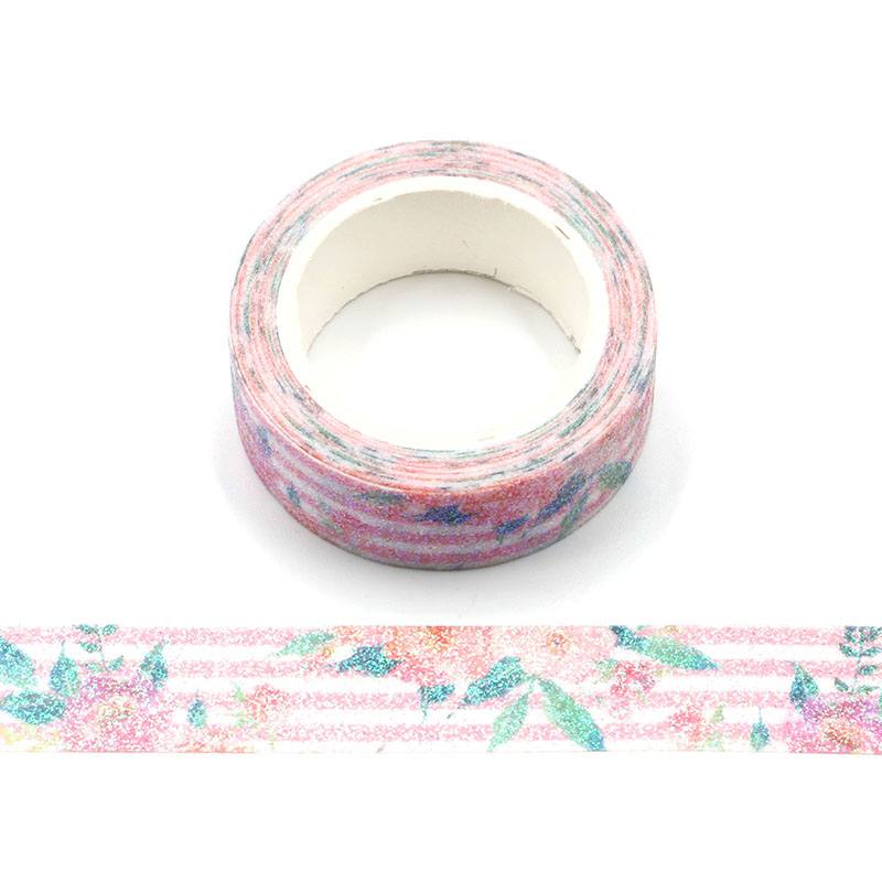 DIY Glitter Washi Paper Natural Flower Washi Tape Paper Masking Tapes Adhesive Tapes Stickers Decorative Stationery Tape Floral