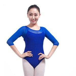 Image 1 - Yetişkin jimnastik Leotard siyah örgü dans 5 renk üç çeyrek kollu bale s kadınlar için Justaucorps