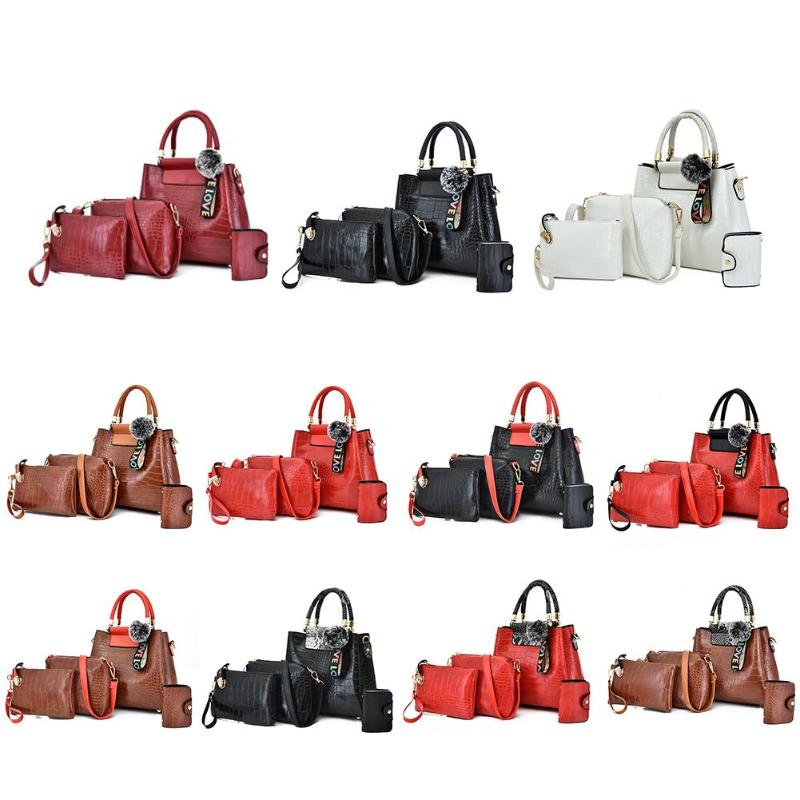 New Fashion Handbags Delicate Design 4pcs/set Retro Women Crocodile PU Leather Tote Messenger Shoulder Handbag Clutch