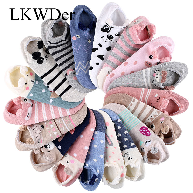 5 Pair Women Sock Spring Summer Three-dimensional Shallow Mouth Cartoon Female Cotton Invisible Cotton Japanese Cute Animal Sock