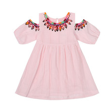 Cotton Girl Dress 2019 Summer New Clothes Casual Sundress Short Sleeve Strapless Princess
