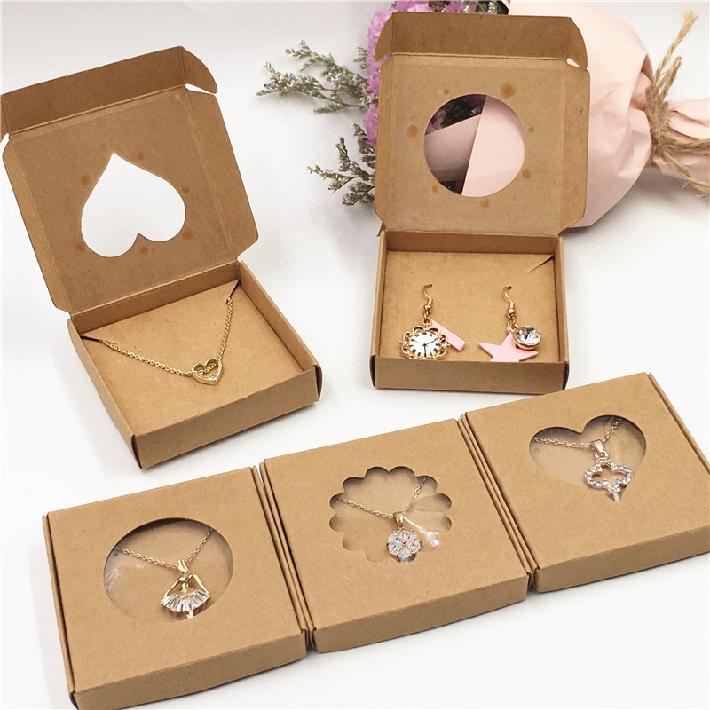 50Sets Kraft Paper Handmade Jewelry Set Packing Displays Boxes Brown Necklace And Earring Gift Boxes 6x6x1cm 6x6x1.5cm