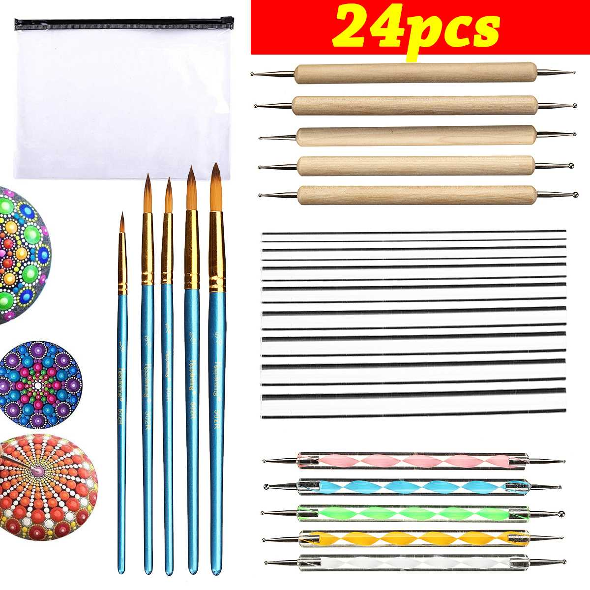 24PCS Mandala Painting Dotting Tools With Dotting Rods Ball Stylus Pen Stencil Paint Tray Brushes For Canva Rock Fabric Wall Ar
