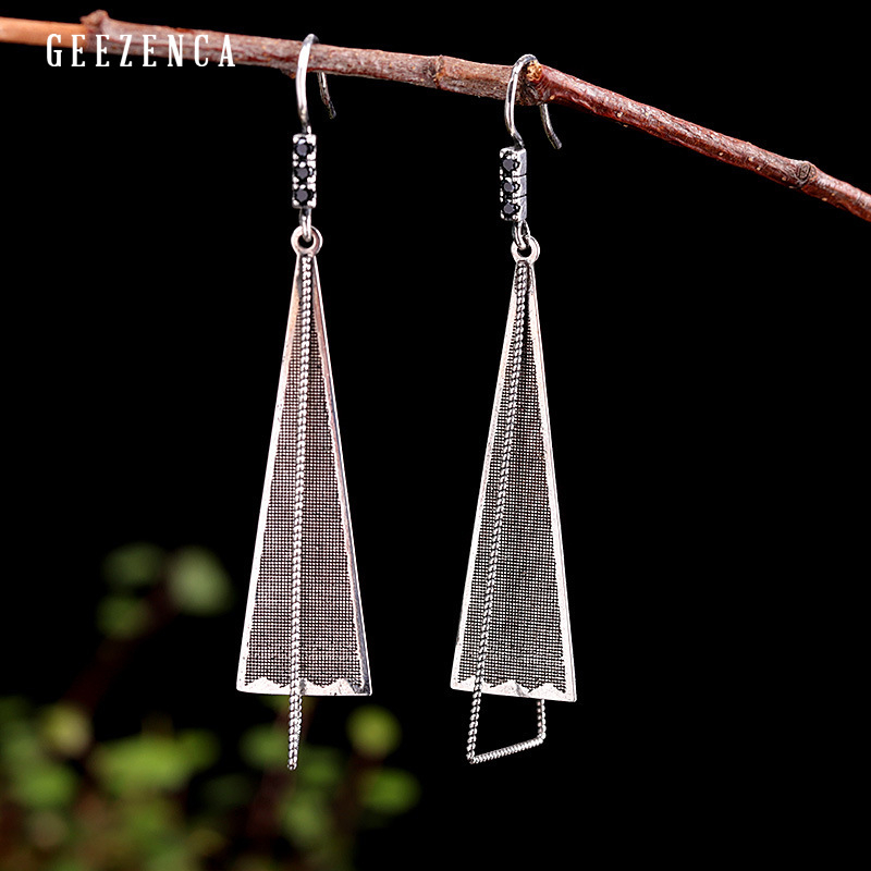 925 Sterling Silver Geometric Long Drop Earring Trendy Vintage Designer Handmade Triangle Dangle Earrings Fine Jewelry Women