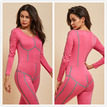 Reflective Line Patchwork Sport Set Women Fitness Jumpsuit Yoga Set for Night Running Gym Outfit Clothing Sportwear Long sleeve(China)