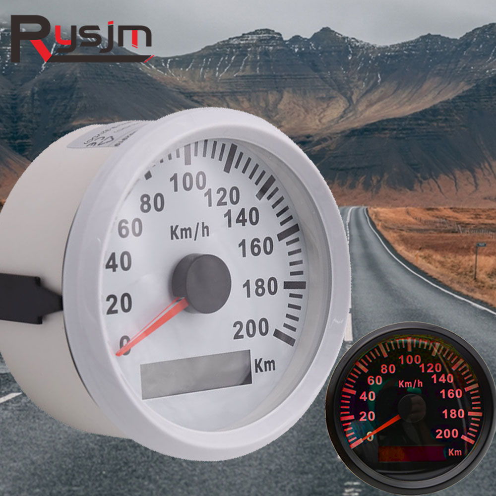 85mm 200 KM//H Car Motor Auto Stainless GPS Speedometer Odometer Gauge Waterproof