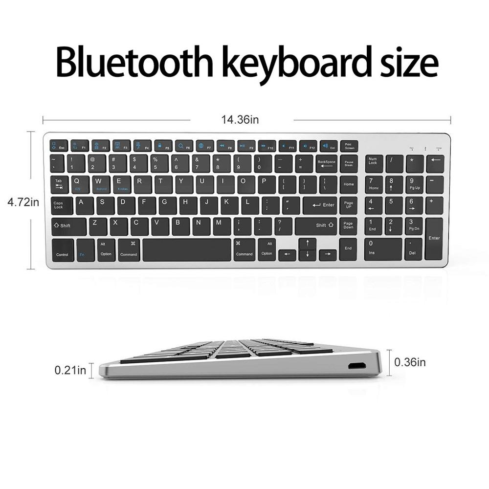 Bluetooth Keyboard, Rechargeable Portable BT Wireless Keyboard With Number The Full Size Keyboard Includes Fast-access Hot Keys