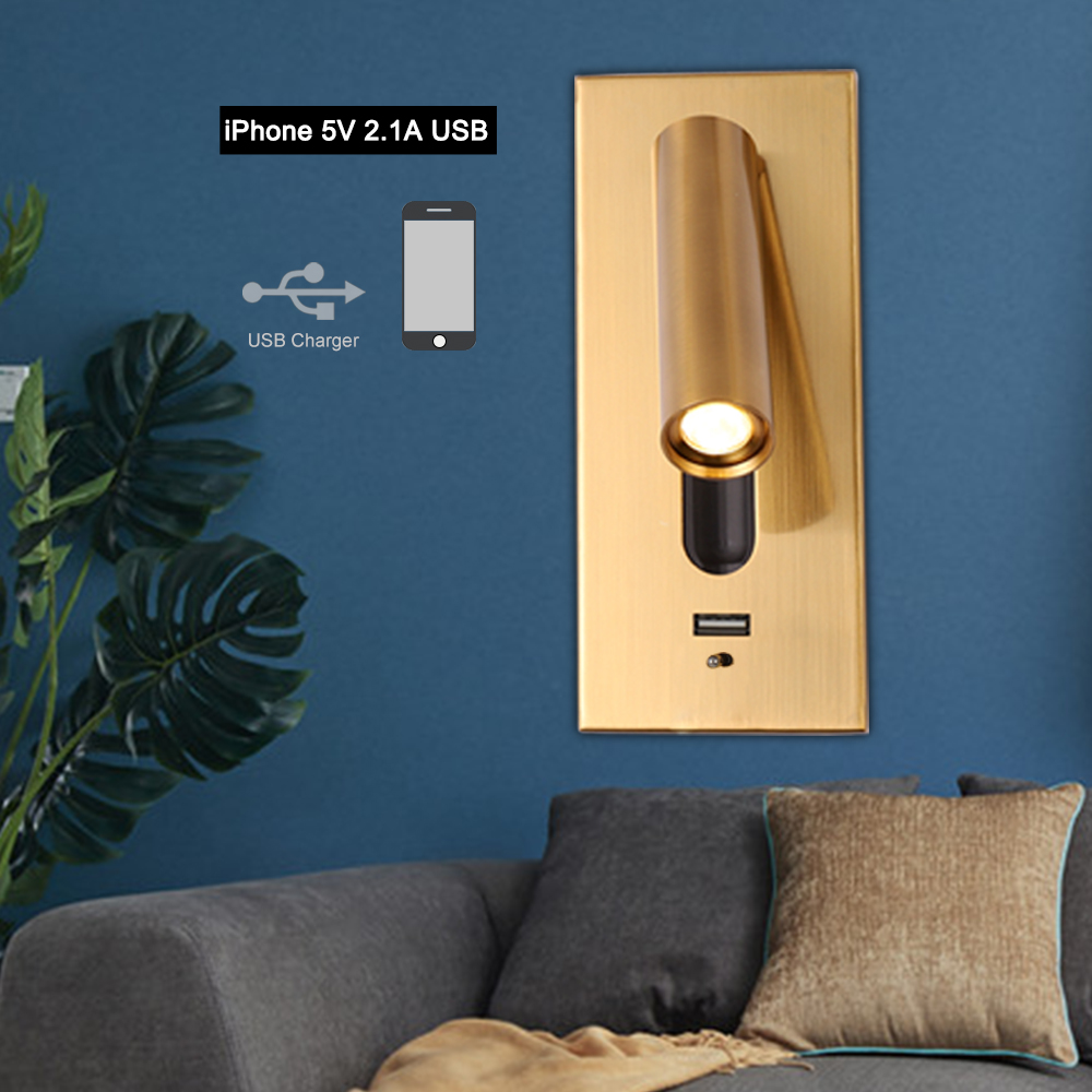 ZEROUNO bedroom Wall Lamp LED Home interior Reading Light room bedside 3W Night light wall sconce USB indoor lighting Fixtures