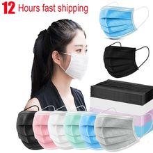 Masque facial Anti-poussière à 3 couches pour adultes, lot de 10/100 pièces, filtre, non-tissé, personnel, respirant et sûr, noir