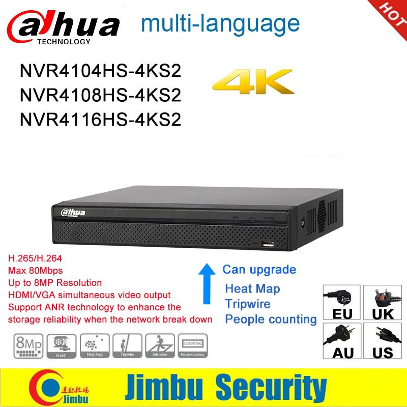 Dahua NVR P2P 4K Network Video Recorder NVR4104HS-4KS2 NVR4108HS-4KS2  NVR4116HS-4KS2 4CH 8CH 16CH 1U 4K&H.265/H.264 DVR