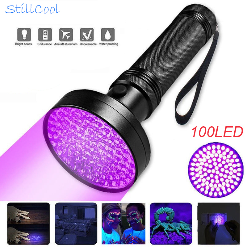 50/100 LED UV Flashlight 395nm Ultraviolet Blacklight Detector Torch Light UV Lamp Pet Scorpion Hunting Inspection Light