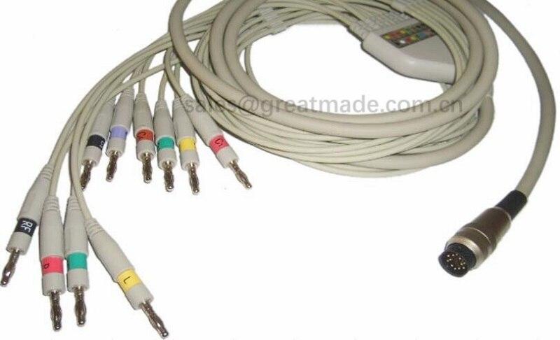 Petas EKG cable , 10lead ecg leadwires ,AHA , Round 12pin > Banana 4.0