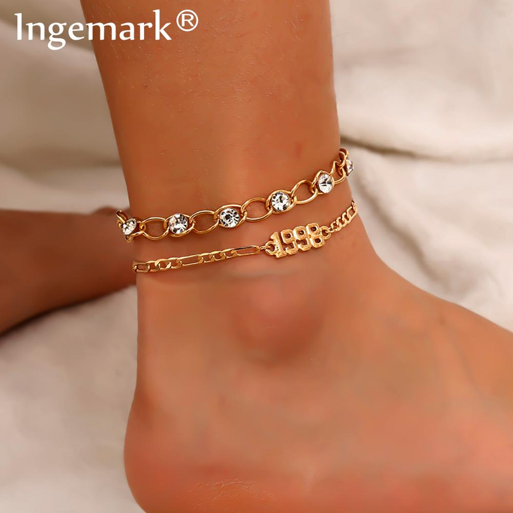 High Quality Crystal 2Pcs/Set Chunky Chain Ankle Bracelet for Women Summer Beach Accessories 2020 Fashion Anklet Foot Jewelry