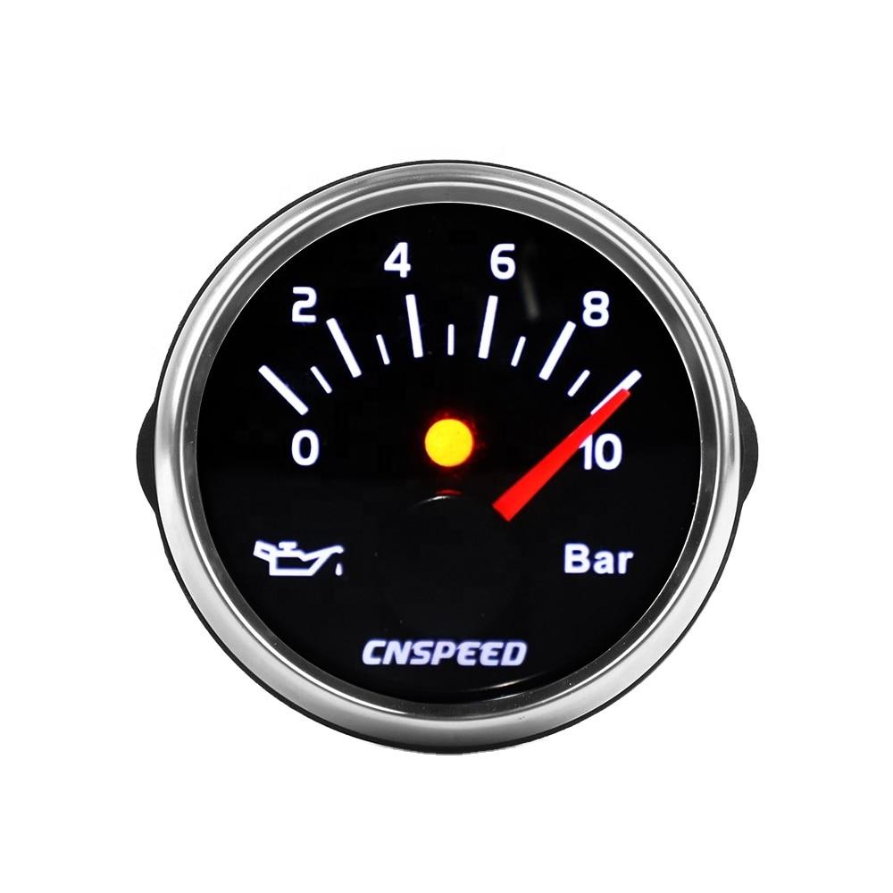 2'' 52mm Oil Pressure Gauge 0-10 Bar Clear Lens 12v 24v Without Sensor Oil Pressure Meter Pretty And Colorful