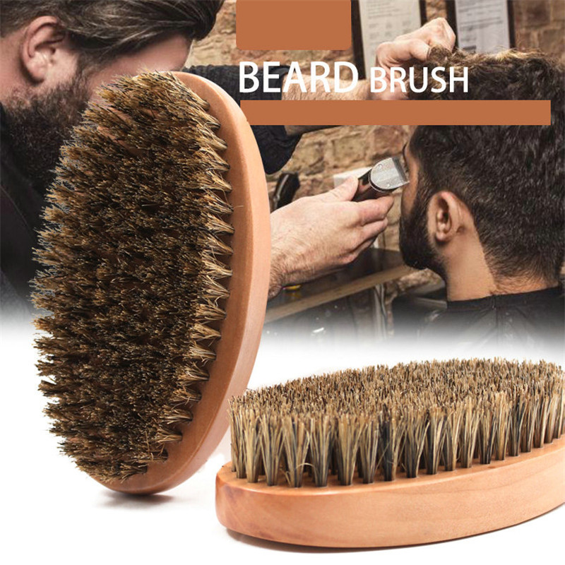 Natural Boar Bristle Beard Brush For Men Face Massage Works To Comb Mustache