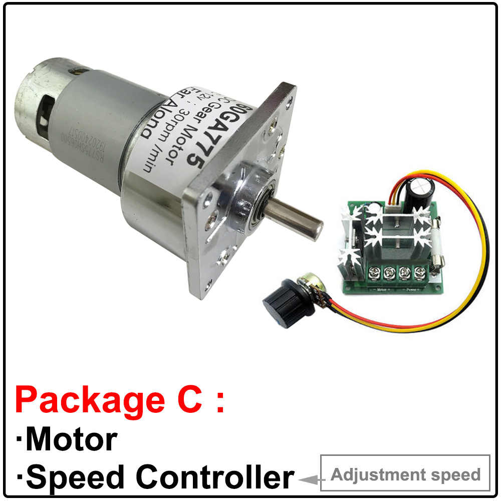 DC 12V 24V Gearmotors 5-500 RPM High Torque Reduction Gear Box Motor 60GA775