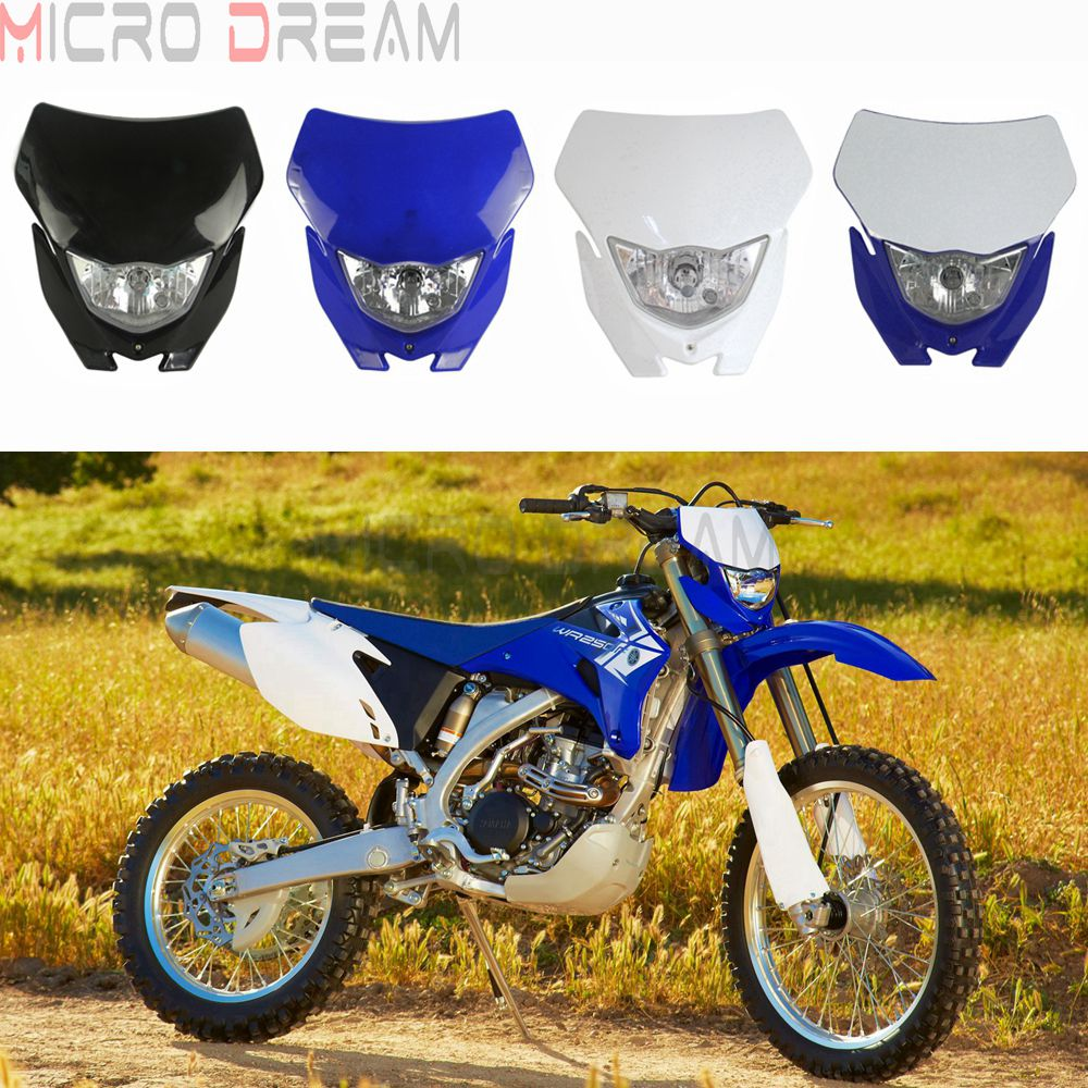 Motocross Halogen Headlight Mask 12v H4 Head Light Fairing Universal Headlamp for Yamaha WR YZ TTR WRF 85 125 250 250X 425 450