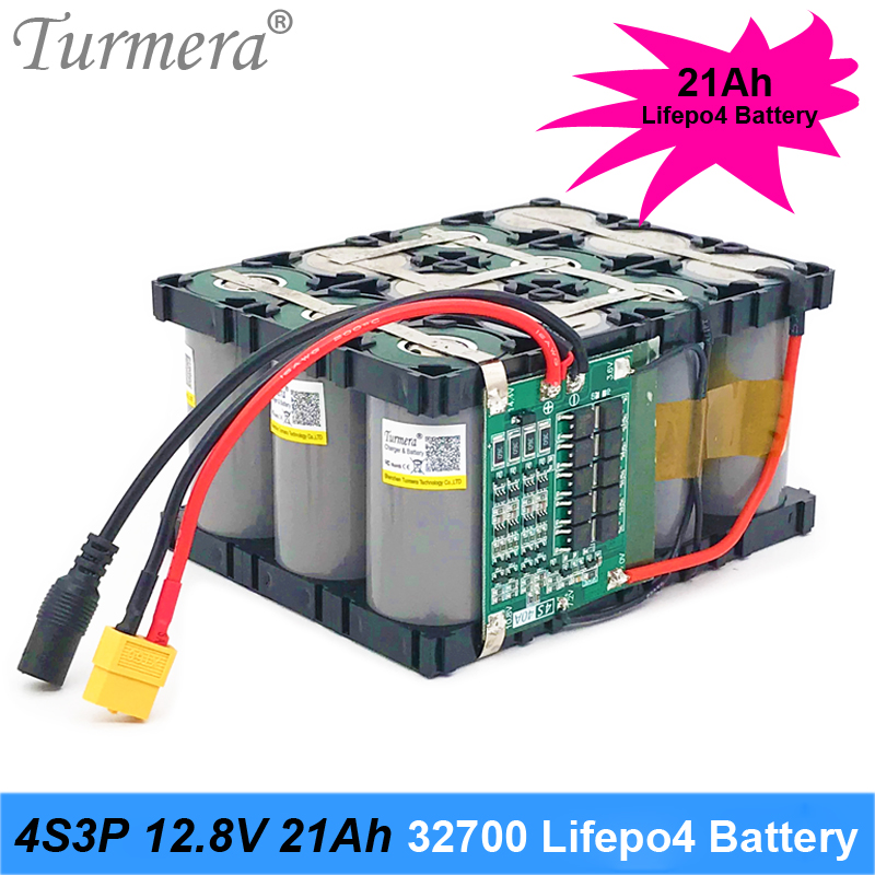 Turmera <font><b>32700</b></font> Lifepo4 <font><b>Battery</b></font> <font><b>Pack</b></font> 4S3P 12.8V 21Ah 4S 40A 100A Balanced BMS for Electric Boat and Uninterrupted Power Supply 12V image