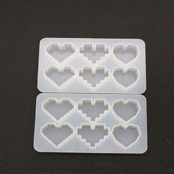 Crystal UV Epoxy Resin Mold Pixel Love Heart Shape High Mirror DIY Handmade Pendant Silicone Molds