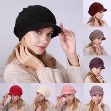 Зимний Козырек вязаная шапка вязанная крючком мужская женская Лыжная Толстая теплая новое поступление