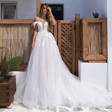 Boho Wedding Dress 2020 Elegant Lace Appliques with Tulle Wedding Gowns Off Shoulder v-neck Bride Dress Plus size Customized plus size sexy off the shoulder boat neck wedding dress long sleeves appliques lace wedding gowns boho bride dress