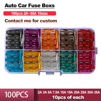Auto Car Fuse Box Medium100PCS 2A 3A 5A 7.5A 10A 15A 20A 25A 30A 35A Amp with Box Clip Assortment Auto Blade Type Fuse Set Truck auto blade fuse zinc alloy plastic material suv mini small car fuses 2a 3a 5a 7 5a 10a 15a 20a 25a 30a 35a 40a clip amp truck
