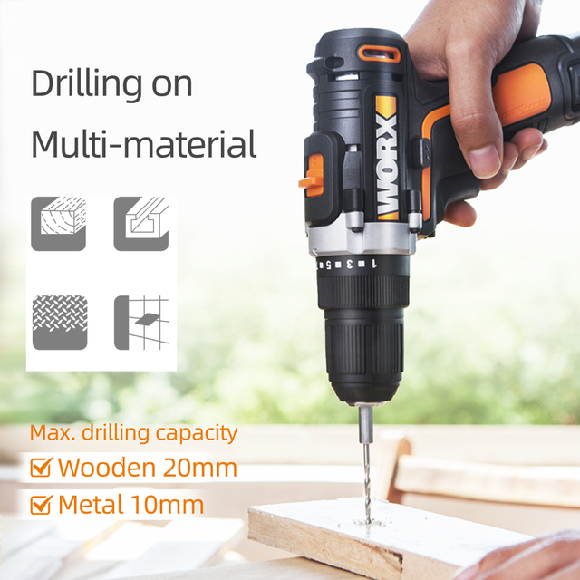 Worx 12V Electric Drill Driver WX128.1 Cordless Screwdriver Electric Mini Hand Drill Wireless Household Power Tools Rechargeable 4