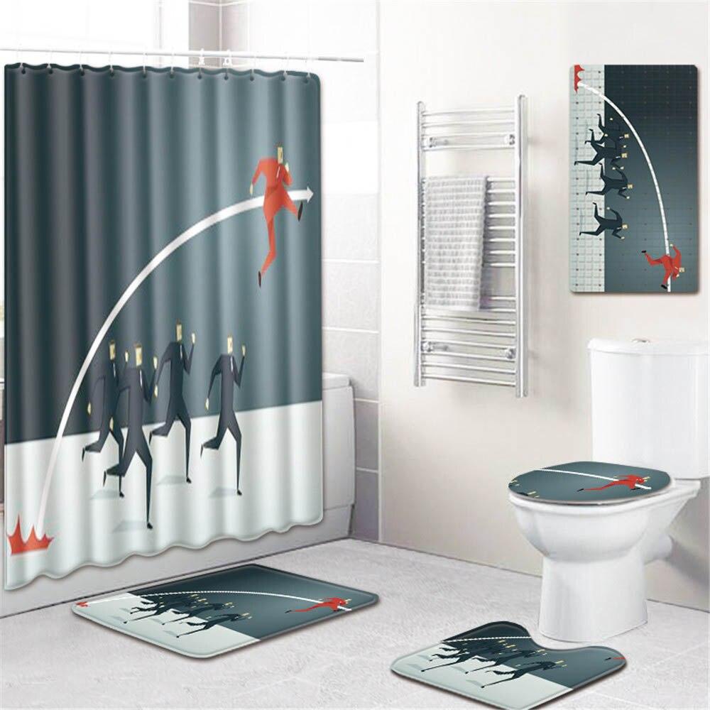 5 шт./компл. 3d Шторки для душа с принтом водонепроницаемая ткань для ванной ПВХ нескользящий коврик для ванной коврик коврики для туалета чех...