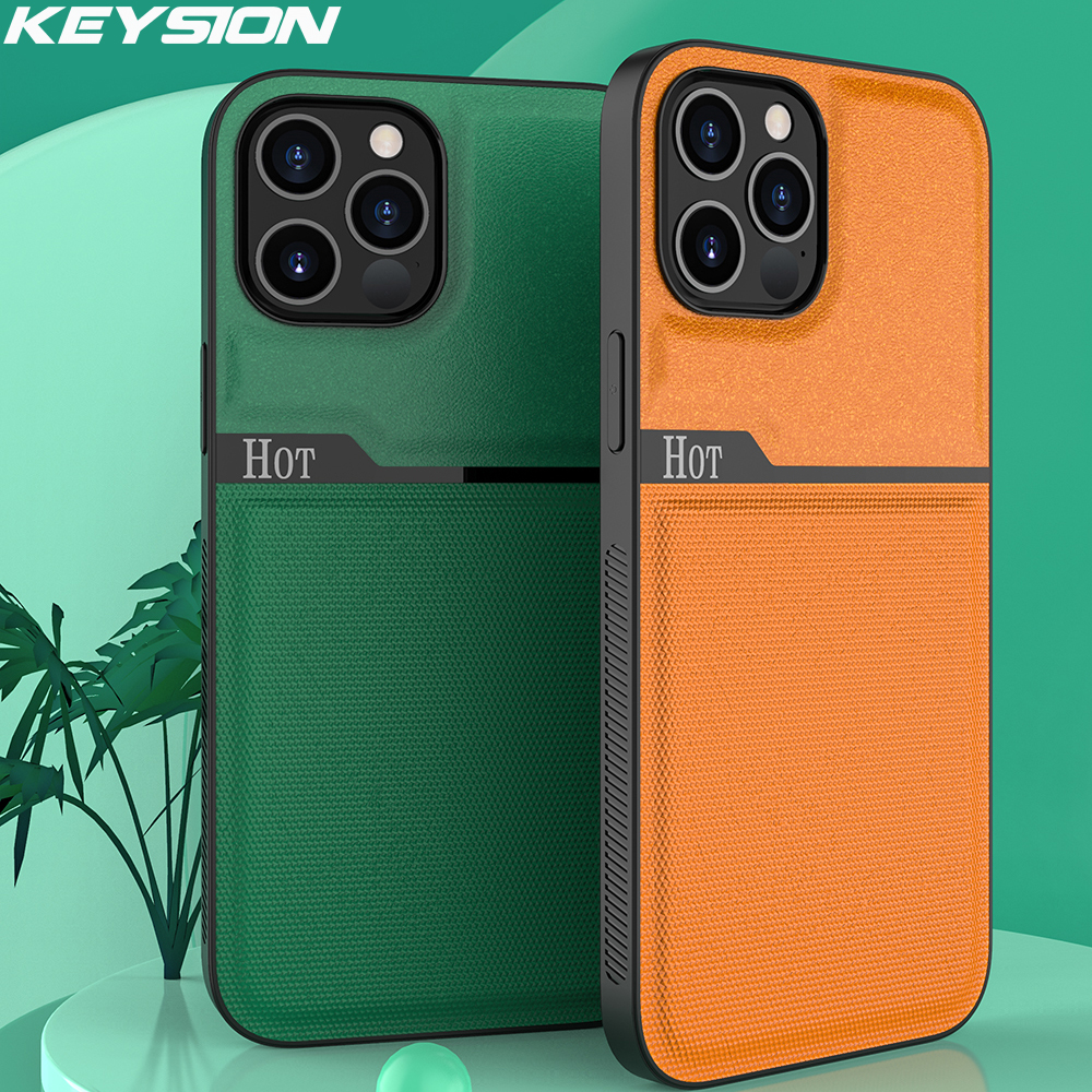 KEYSION Fashion Phone Case for iPhone 12 Pro Max Splicing PU Leather Back Cover for iPhone 12 Mini 11 Pro XS XR 8 7 6s Plus SE2