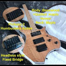 F Hole Headless Electric Guitar D-D6 Semi Hollow Body Black Hardware Quilted Maple Top Active Pickups Nature Color new electric guitar neck guitar body solid wood hollow body f hole 1f