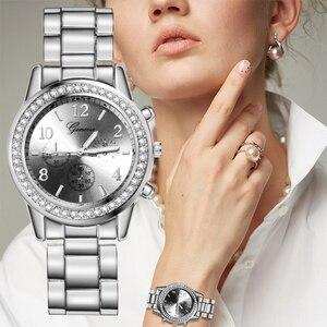 2020 silver ladies watch, ladies fashion luxury water diamond British watch, ladies watch stainless steel band ladies watch