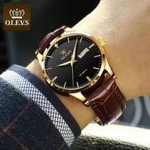 Olevs novos relógios masculinos clássico relógio de couro mecânico homem de luxo relógios automáticos negócios à prova dwaterproof água homem 6629