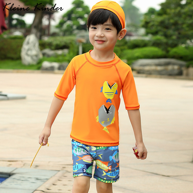 Children's Swimwear 3 Pcs Long Sleeve Swimsuit For Boy UPF 50 Cartoon Orange Toddler Boys UV Bathing Clothes Swimming Suit Baby