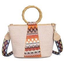 Bohemian Style Weaving Women Casual Totes Bag Female Handbag Ring Bamboo Tote Ladies Cross Body Shoulder Bags for Women Hand Bag