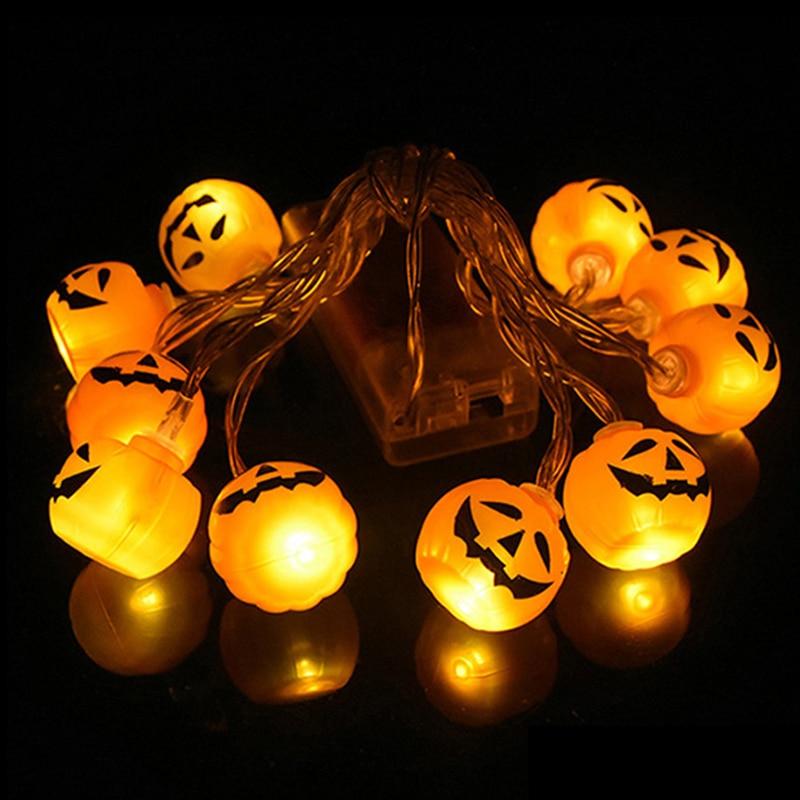 10LED Halloween citrouille araignée chauve-souris crâne chaîne lumières lampe bricolage suspendus horreur Halloween décoration pour la maison fête fournitures