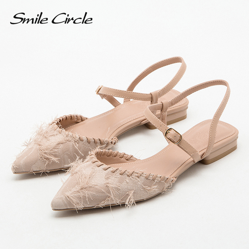 Smile Circl / Ladies high heels fashion shallow mouth feather shoes pointed ladies shoes ladies 2020 summer women's shoes